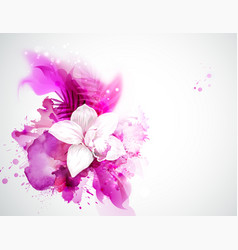 Light blooming orchid and palm leaves on the vector