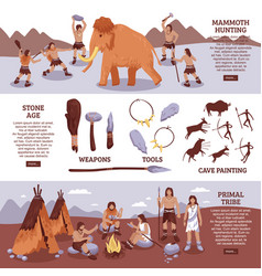 primal tribe people banners set vector image