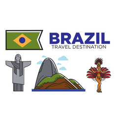 Brazil travel attractions and famous culture vector