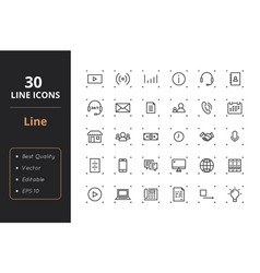 30 line icons vector image vector image