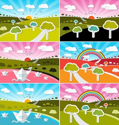 Landscape field set - flat design nature wit vector