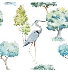 Watercolor herons and trees patterns vector