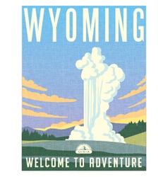 Retro travel poster for wyoming vector
