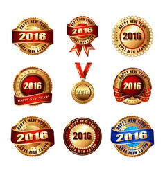 Set of happy new year 2015 golden label with vector