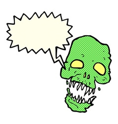 Cartoon scary skull with speech bubble vector