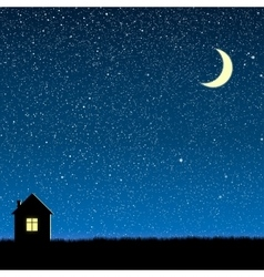 Silhouette of the house on the star sky vector