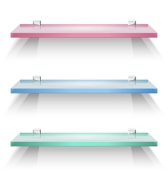 Red green and blue square glass shelves vector