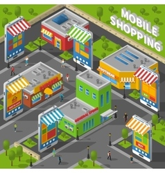 Mobile Shopping Isometric vector image