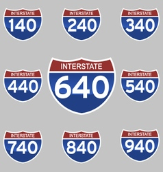 Interstate signs 140-940 vector