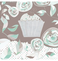 Vintage floral cupcakes card vector image