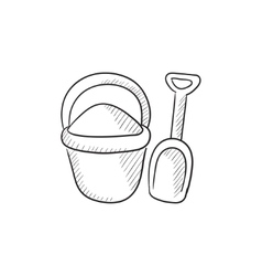 Bucket and spade for children sketch icon vector