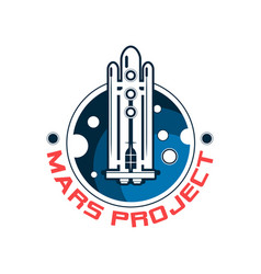 abstract logo with spaceship and mars space vector image