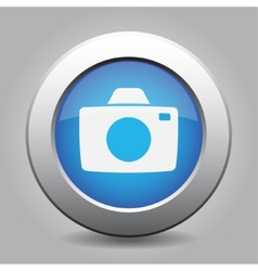 Blue metal button with camera vector