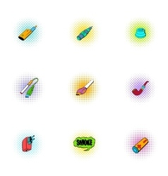 Cigarette icons set pop-art style vector