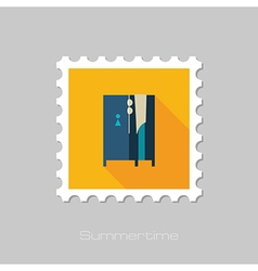 Cloakroom on the beach flat stamp summer vector