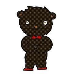 comic cartoon little black bear vector image