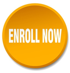 Enroll now orange round flat isolated push button vector
