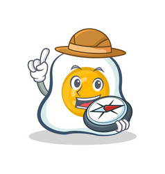 Explorer fried egg character cartoon vector