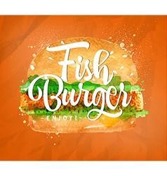 Fish burger color vector