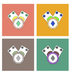 Flat icon design collection casino chip and cash vector