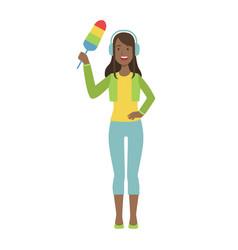girl in headphones with dust brush cartoon adult vector image