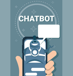 Hand holding smart phone user chatting with chat vector