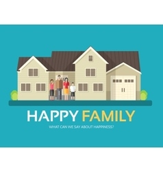 Happy family in flat design background concept vector