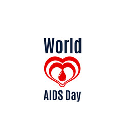 Heart and blood drop icon for aids day vector