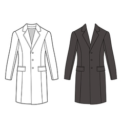 Mans coat outlined template front view vector