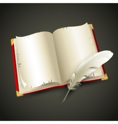 Old book and pen vector