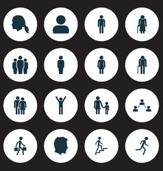 People icons set collection of family vector