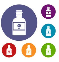 Poison bottle icons set vector