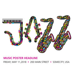 Printjazzy colorful music background vector
