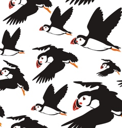 Puffin bird pattern b vector