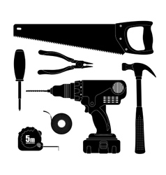 Renovation tools silhouettes vector