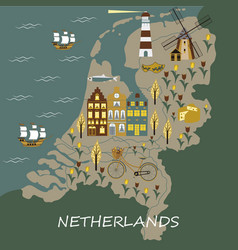 Set of hand drawn doodles of amsterdam vector