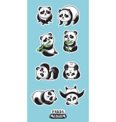 Set of stickers with cute pandas vector image vector image