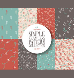 Simple seamless pattern set hipster vintage cute vector image vector image