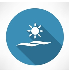 sun and sea icon vector image vector image
