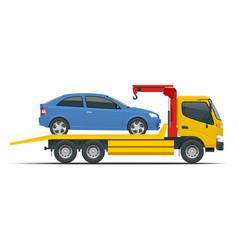 Tow truck city road assistance service evacuator vector