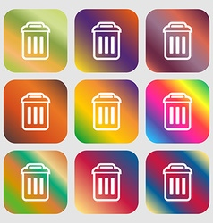 trash icon Nine buttons with bright gradients for vector image