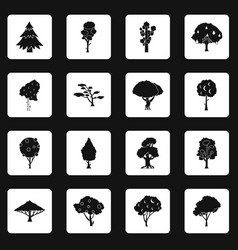 trees icons set squares vector image