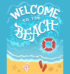 Welcome to the beach hand drawn vector