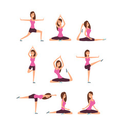 Young woman making yoga exercises and meditation vector