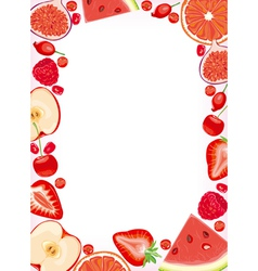 Red fruits and berries frame vector
