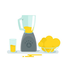 Blender mixer glass and fruit on the table vector