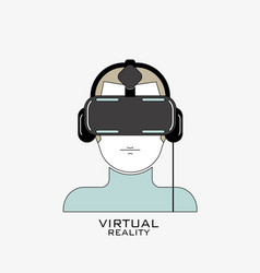 Virtual reality headset icon flat line design vector