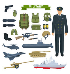 Military man with weapon personal equipment icon vector