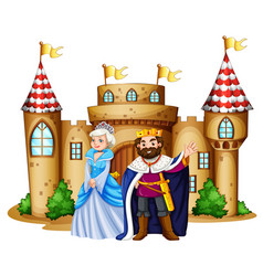 King and queen at the castle vector