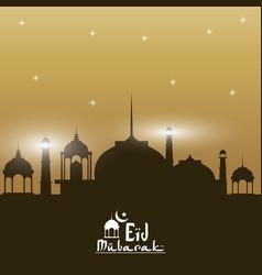 Sunset color background silhouette eid mubarak vector